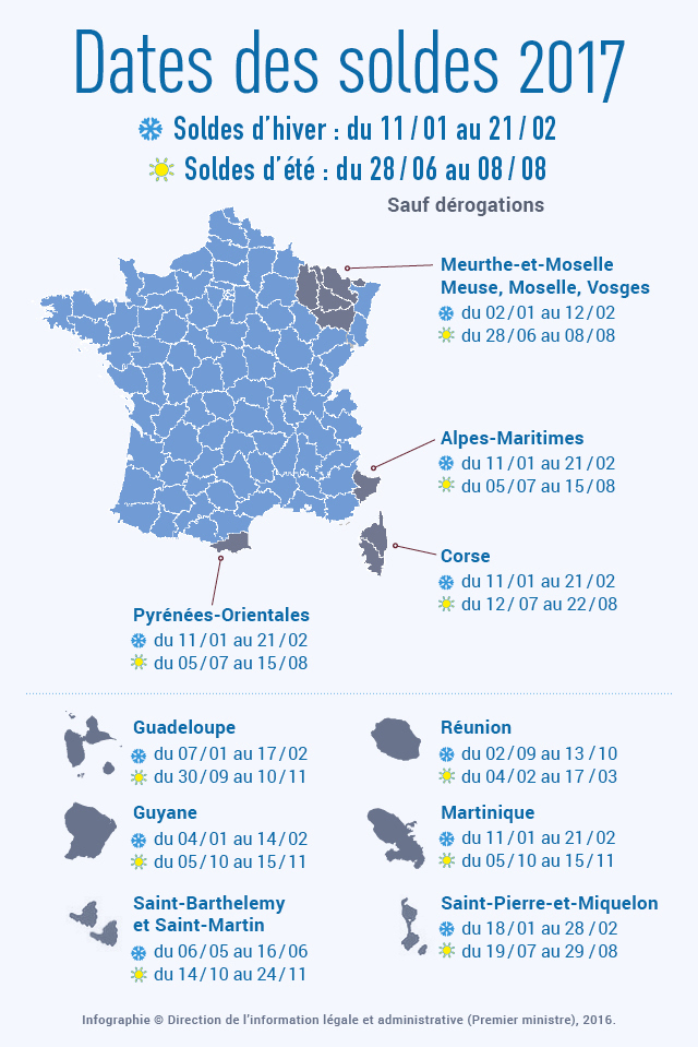 769b0cefb3b Dates des soldes été 2017 dans toute la France